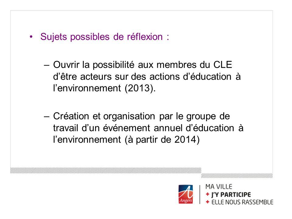Sujets possibles de réflexion : –Ouvrir la possibilité aux membres du CLE dêtre acteurs sur des actions déducation à lenvironnement (2013). –Création