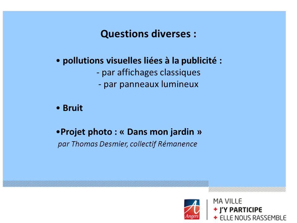 Questions diverses : pollutions visuelles liées à la publicité : - par affichages classiques - par panneaux lumineux Bruit Projet photo : « Dans mon j