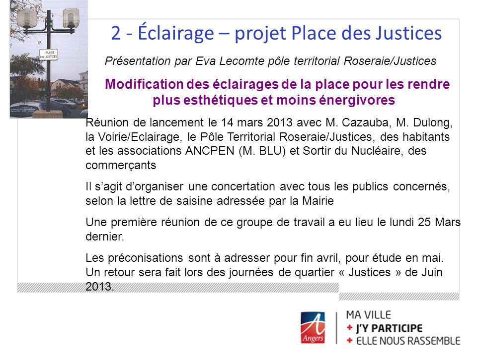 2 - Éclairage – projet Place des Justices Présentation par Eva Lecomte pôle territorial Roseraie/Justices Modification des éclairages de la place pour