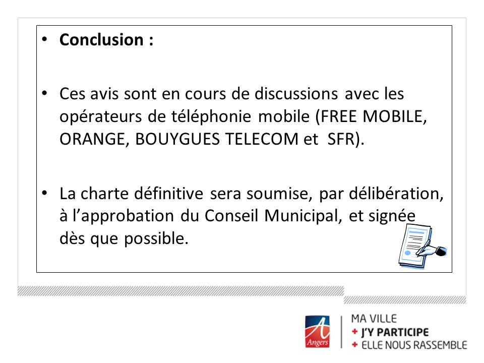 Conclusion : Ces avis sont en cours de discussions avec les opérateurs de téléphonie mobile (FREE MOBILE, ORANGE, BOUYGUES TELECOM et SFR). La charte