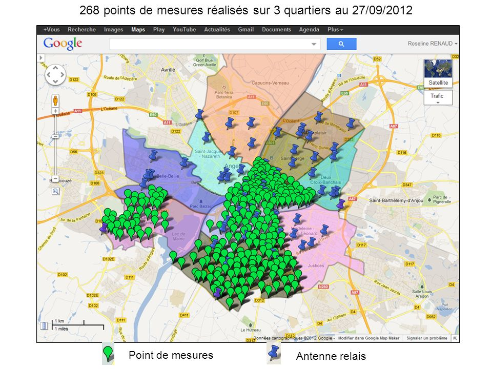 Point de mesures Antenne relais 268 points de mesures réalisés sur 3 quartiers au 27/09/2012
