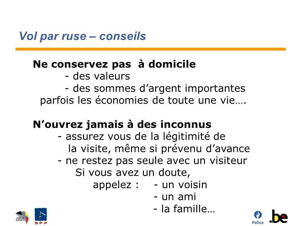 Vol par ruse – conseils Ne conservez pas à domicile - des valeurs - des sommes dargent importantes parfois les économies de toute une vie….