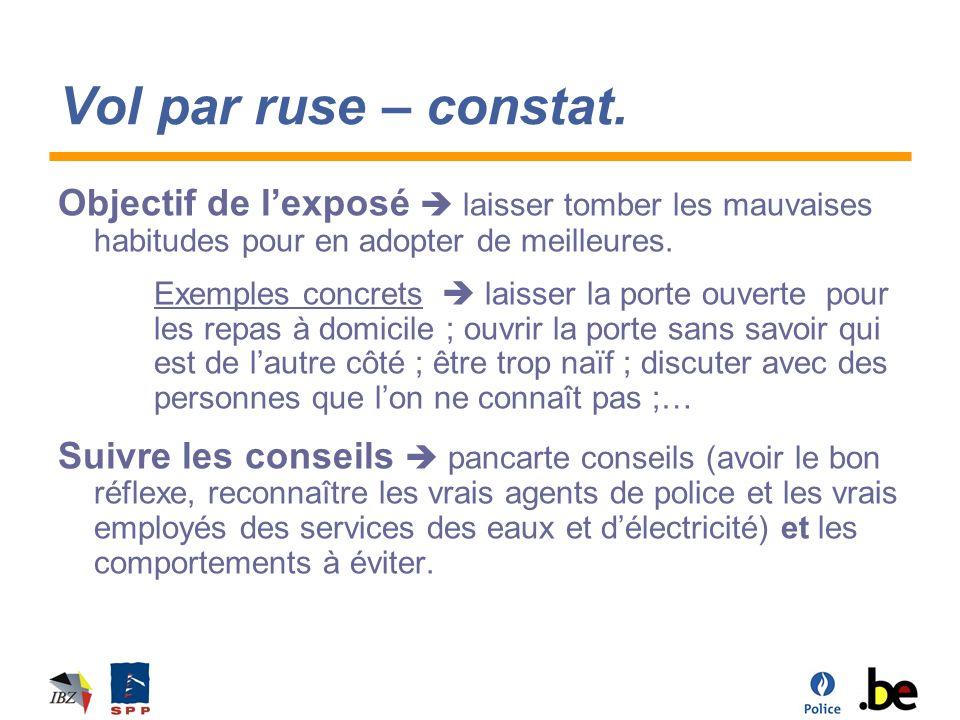 Vol par ruse – vrai et faux policier Demander à sortir dun éventuel étui Contrôler recto/verso.