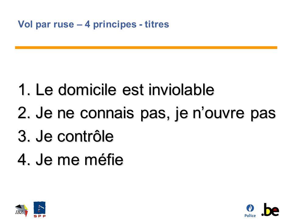 Vol par ruse – 4 principes - titres 1.Le domicile est inviolable 2.