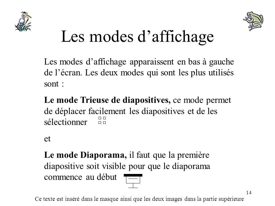 Ce texte est inséré dans le masque ainsi que les deux images dans la partie supérieure 14 Les modes daffichage Les modes daffichage apparaissent en ba