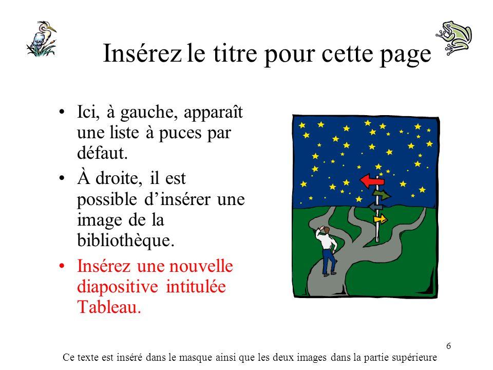 Ce texte est inséré dans le masque ainsi que les deux images dans la partie supérieure 6 Insérez le titre pour cette page Ici, à gauche, apparaît une