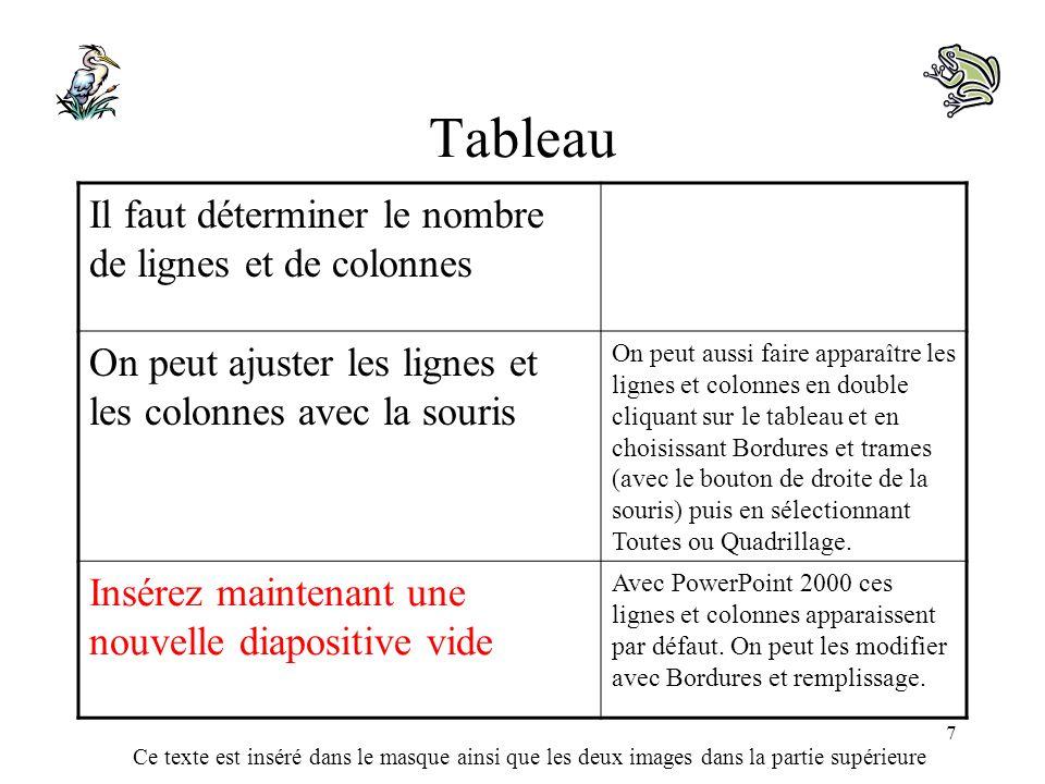 Ce texte est inséré dans le masque ainsi que les deux images dans la partie supérieure 7 Tableau Il faut déterminer le nombre de lignes et de colonnes