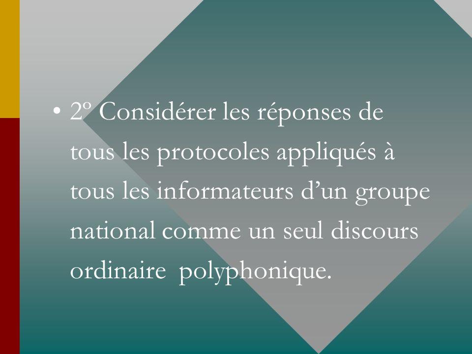 2º Considérer les réponses de tous les protocoles appliqués à tous les informateurs dun groupe national comme un seul discours ordinaire polyphonique.