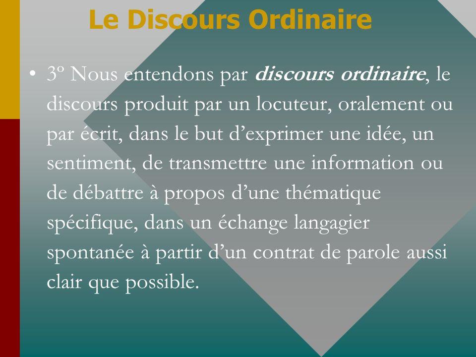 3º Nous entendons par discours ordinaire, le discours produit par un locuteur, oralement ou par écrit, dans le but dexprimer une idée, un sentiment, d