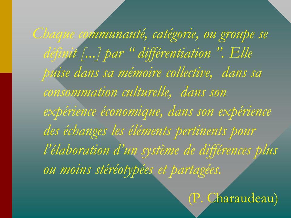 Chaque communauté, catégorie, ou groupe se définit [...] par différentiation. Elle puise dans sa mémoire collective, dans sa consommation culturelle,