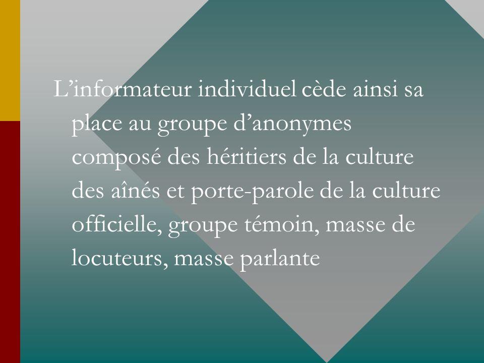 Linformateur individuel cède ainsi sa place au groupe danonymes composé des héritiers de la culture des aînés et porte-parole de la culture officielle