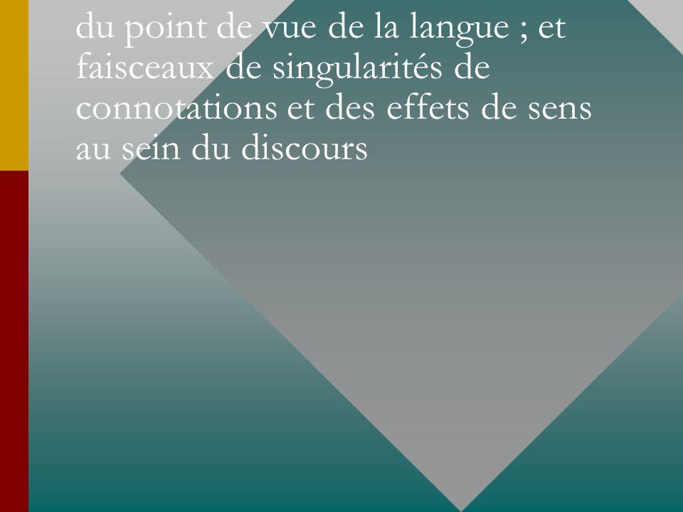 faisceaux notionnels et dénotatifs du point de vue de la langue ; et faisceaux de singularités de connotations et des effets de sens au sein du discou