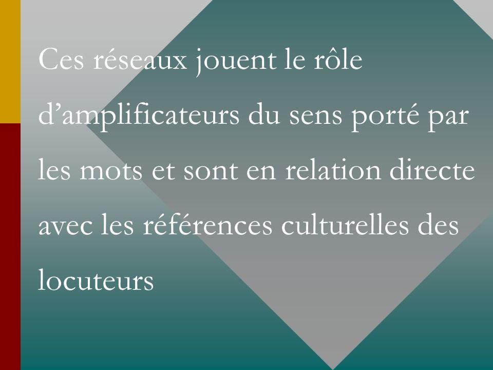 Ces réseaux jouent le rôle damplificateurs du sens porté par les mots et sont en relation directe avec les références culturelles des locuteurs