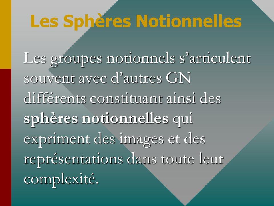 Les groupes notionnels sarticulent souvent avec dautres GN différents constituant ainsi des sphères notionnelles qui expriment des images et des repré