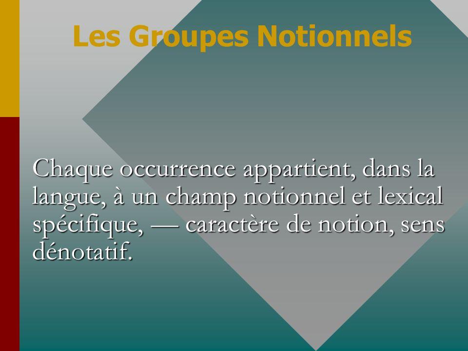 Chaque occurrence appartient, dans la langue, à un champ notionnel et lexical spécifique, caractère de notion, sens dénotatif. Les Groupes Notionnels