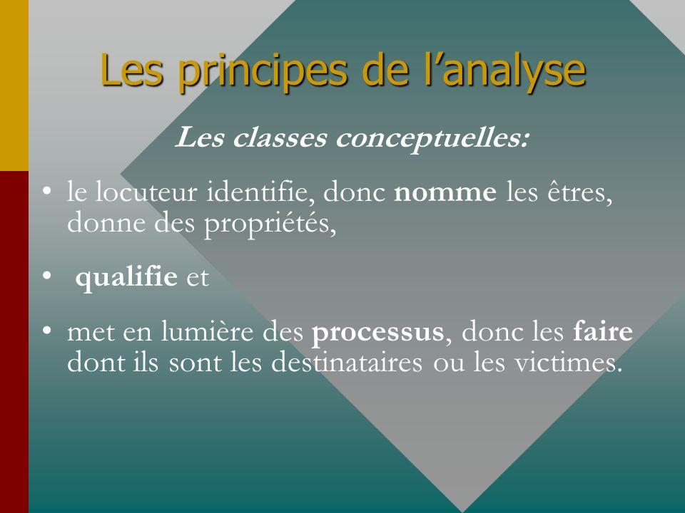Les principes de lanalyse Les classes conceptuelles: le locuteur identifie, donc nomme les êtres, donne des propriétés, qualifie et met en lumière des