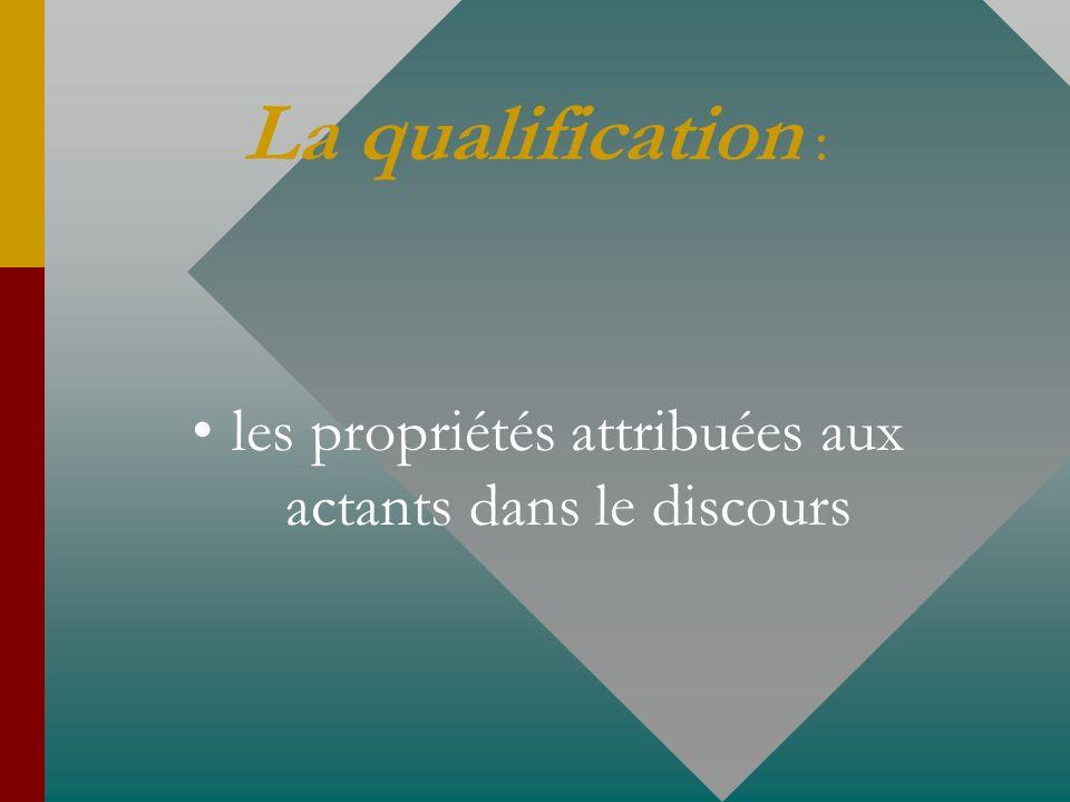 La qualification : les propriétés attribuées aux actants dans le discours