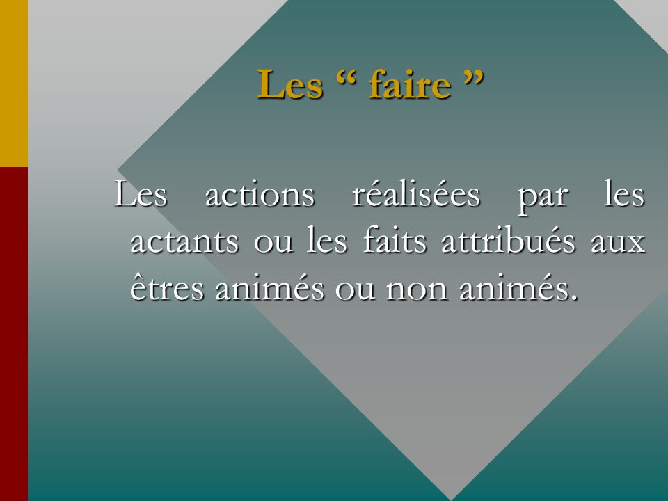 Les faire Les faire Les actions réalisées par les actants ou les faits attribués aux êtres animés ou non animés.