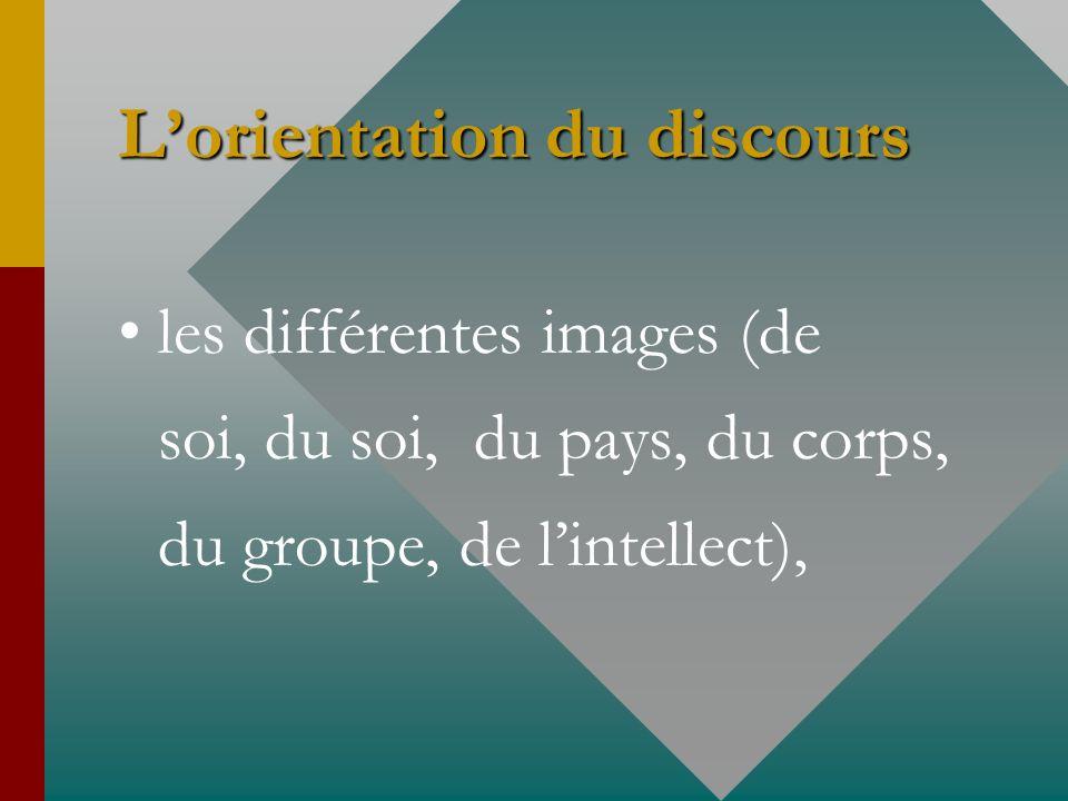 Lorientation du discours les différentes images (de soi, du soi, du pays, du corps, du groupe, de lintellect),