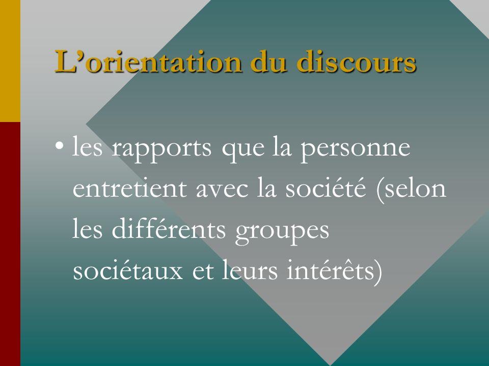Lorientation du discours les rapports que la personne entretient avec la société (selon les différents groupes sociétaux et leurs intérêts)