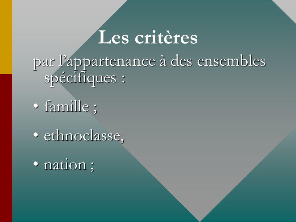 Les critères par lappartenance à des ensembles spécifiques : famille ;famille ; ethnoclasse,ethnoclasse, nation ;nation ;