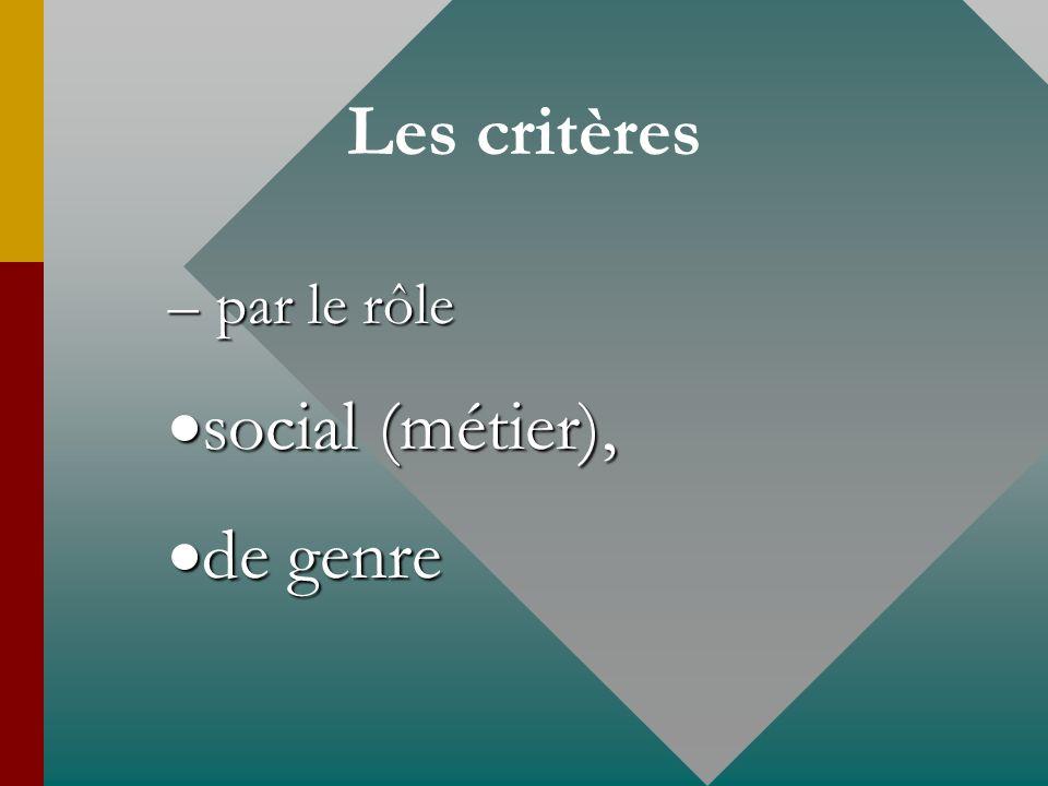 Les critères – par le rôle social (métier), social (métier), de genre de genre