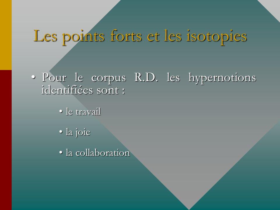 Les points forts et les isotopies Pour le corpus R.D. les hypernotions identifiées sont :Pour le corpus R.D. les hypernotions identifiées sont : le tr