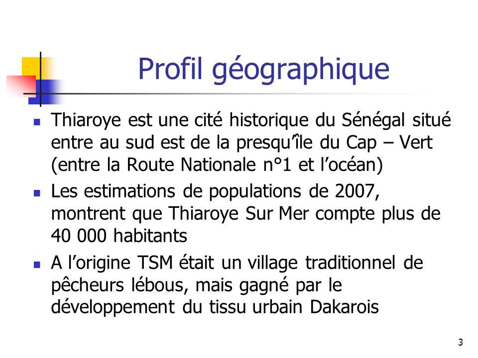 3 Thiaroye est une cité historique du Sénégal situé entre au sud est de la presquîle du Cap – Vert (entre la Route Nationale n°1 et locéan) Les estimations de populations de 2007, montrent que Thiaroye Sur Mer compte plus de 40 000 habitants A lorigine TSM était un village traditionnel de pêcheurs lébous, mais gagné par le développement du tissu urbain Dakarois