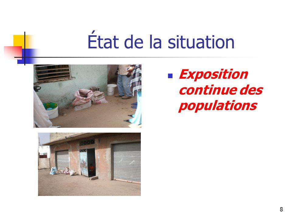 8 État de la situation Exposition continue des populations