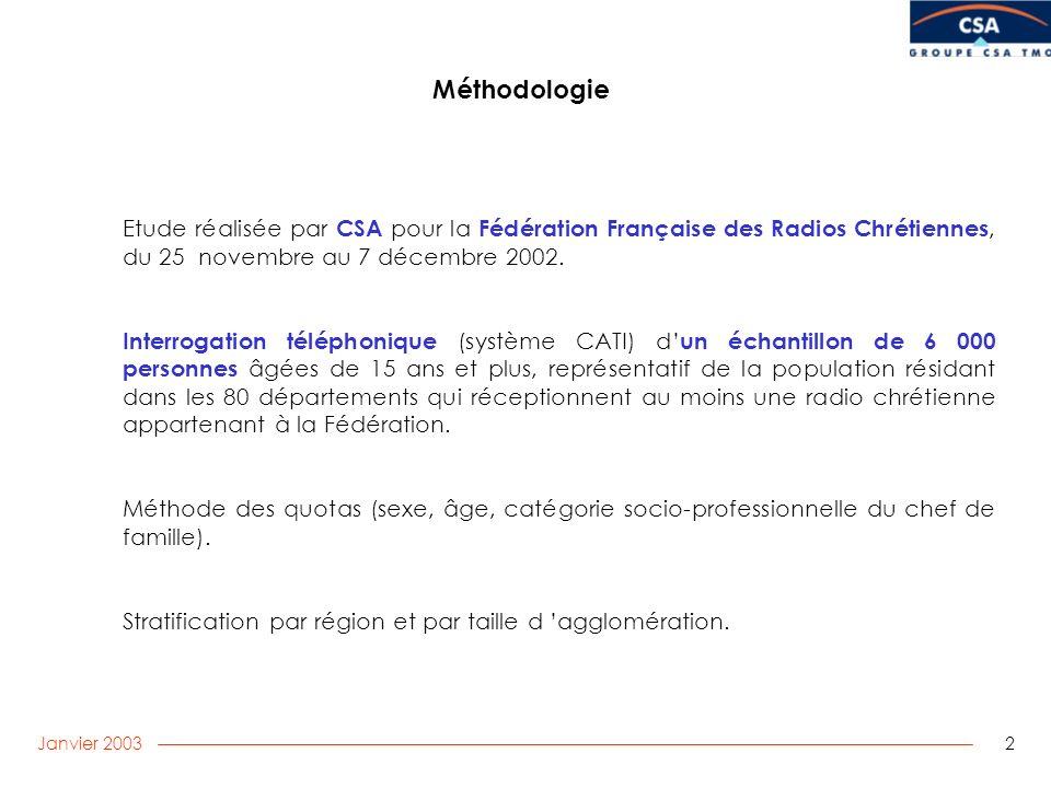 Janvier 2003 2 Etude réalisée par CSA pour la Fédération Française des Radios Chrétiennes, du 25 novembre au 7 décembre 2002.