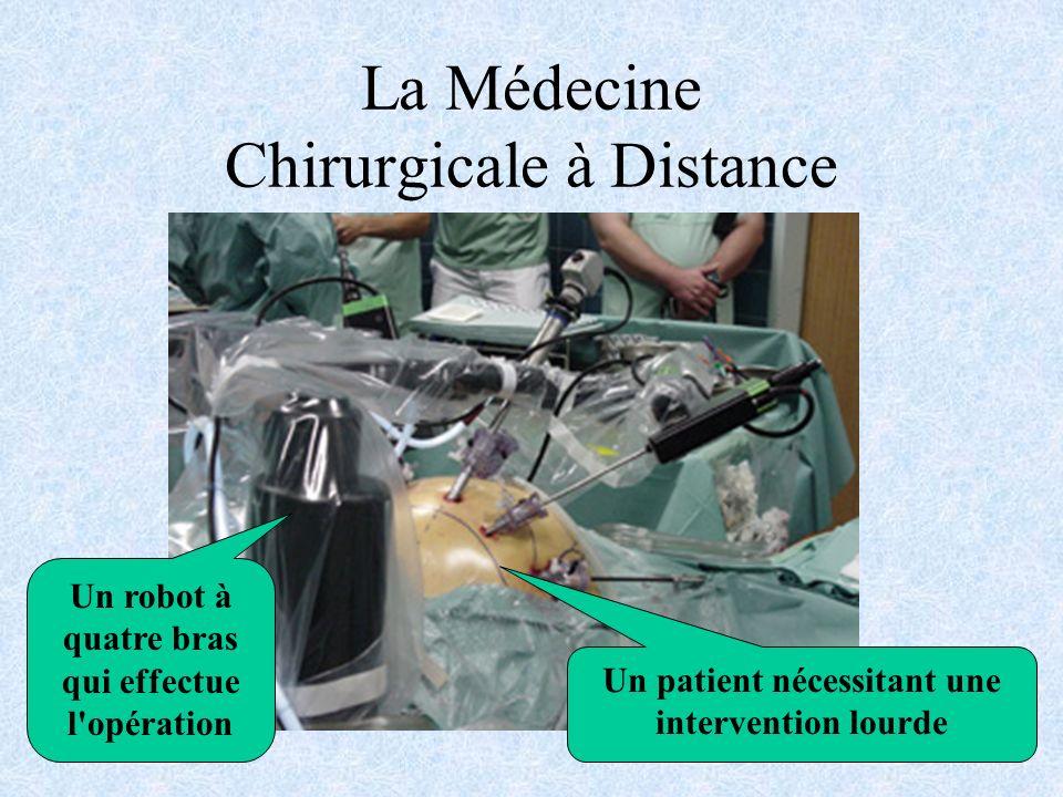 La Médecine Chirurgicale à Distance Un patient nécessitant une intervention lourde Un robot à quatre bras qui effectue l opération