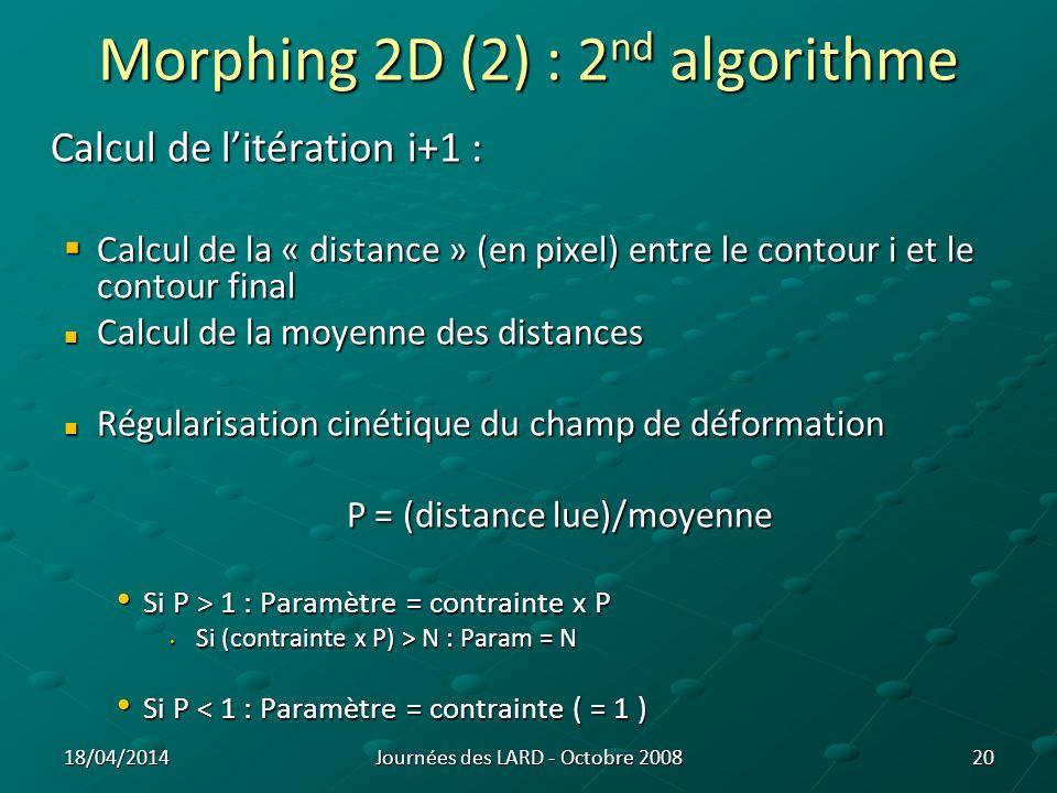 12 3 12 3 4 1 2 3 4 1 2 3 4 1 2 3 42 1 3 4 Morphing 2D : schéma 21 11 2 A B Illustration du calcul de la pondération du paramètre de déformation pour une coupe Journées des LARD - Octobre 200818/04/2014