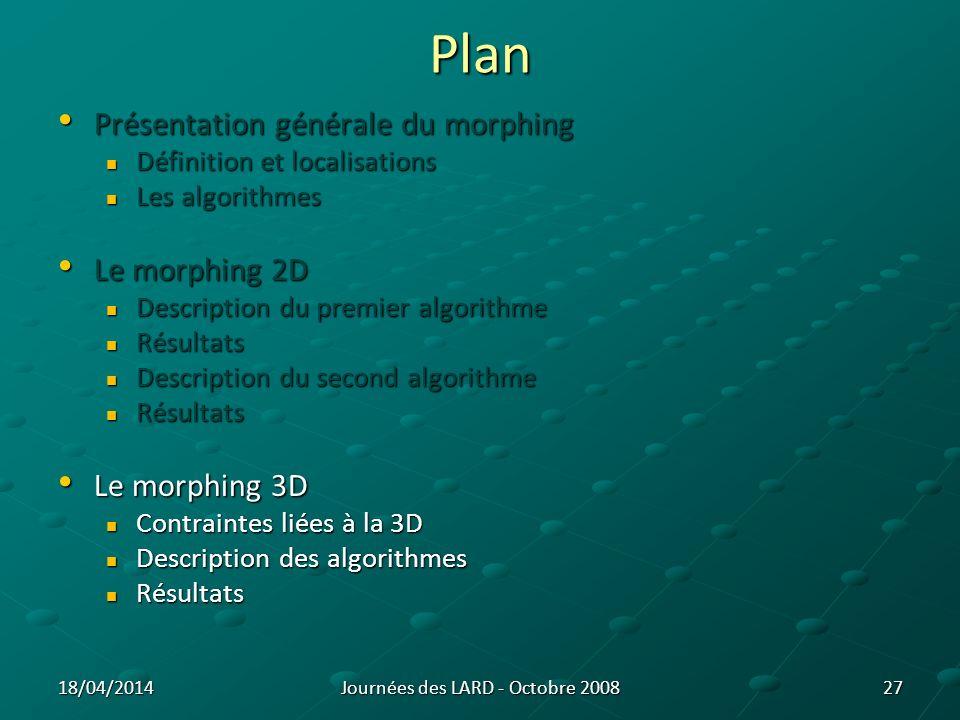 Morphing 3D : problématique 2D 3D : Détection des contours sur la 3 ème dimension Détection des contours sur la 3 ème dimension Traitement en 3D : Traitement en 3D : Pondération .