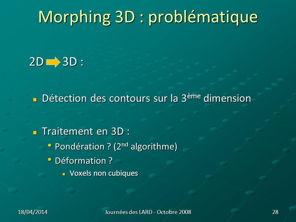 Morphing 3D : solutions Détection des contours en 3D : Détection des contours en 3D : Obligatoire sinon topologie incorrecte Obligatoire sinon topologie incorrecte 29 Forme initiale dune coupe de poumon droit (z = -35 mm) Forme de la coupe de poumon droit (z = -35 mm) après 1 itération avec une détection des contours 2D