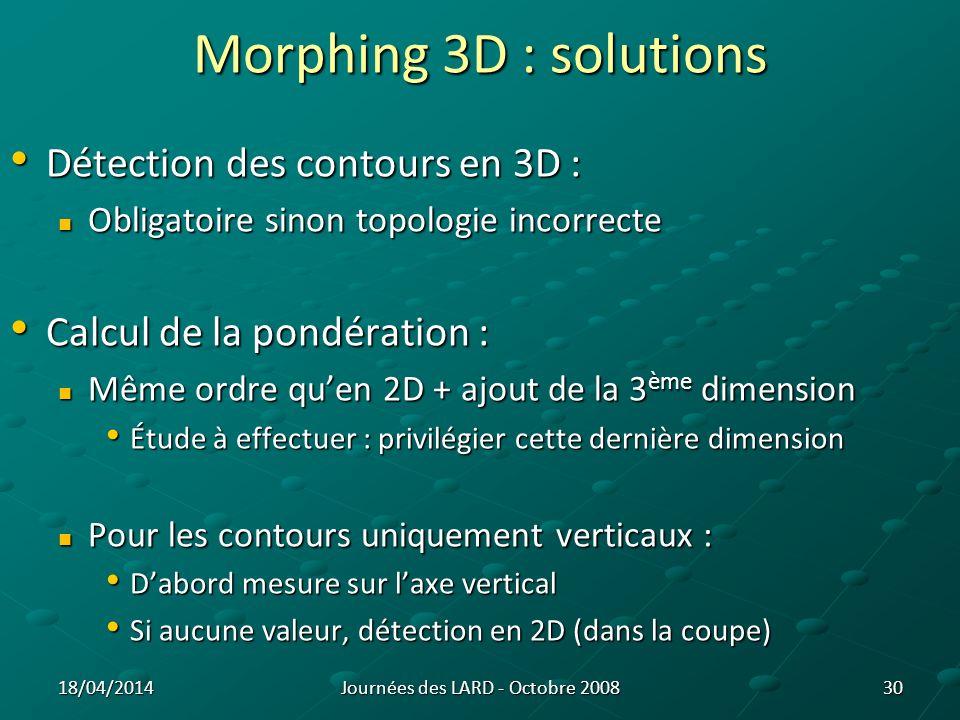 Morphing 3D (3) : déformation 1 er algorithme : 1 er algorithme : Critère dinfluence (vxl) Critère dinfluence (vxl) Fonction de la vélocité Fonction de la vélocité Fonction de lélasticité Fonction de lélasticité 31 Représentation simplifiée de lalgorithme de morphing 3D pour un critère dinfluence de 1 vxl Représentation simplifiée de lalgorithme de morphing 3D pour un critère dinfluence de 2 vxl Représentation simplifiée de lalgorithme de morphing 3D : voxel de départ x y z Représentation simplifiée de lalgorithme de morphing 3D : forme générale des voxels traités Journées des LARD - Octobre 200818/04/2014