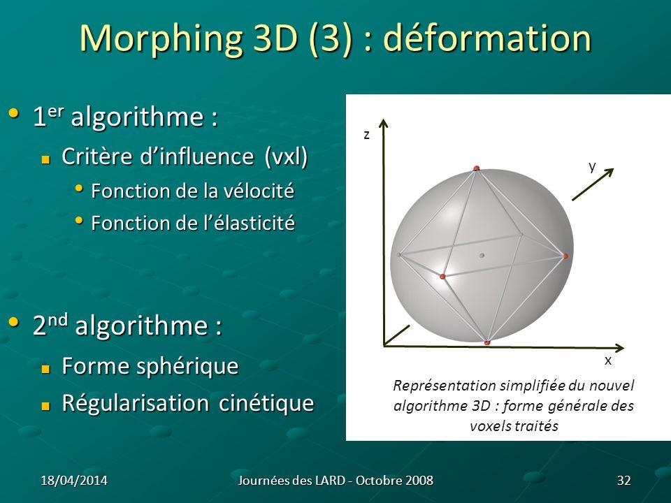 33Journées des LARD - Octobre 200818/04/2014 Morphing 3D : Résultats (1 er algo.) Différence volumique de 7,7% par rapport à P40 Différence volumique de 9% par rapport à P20