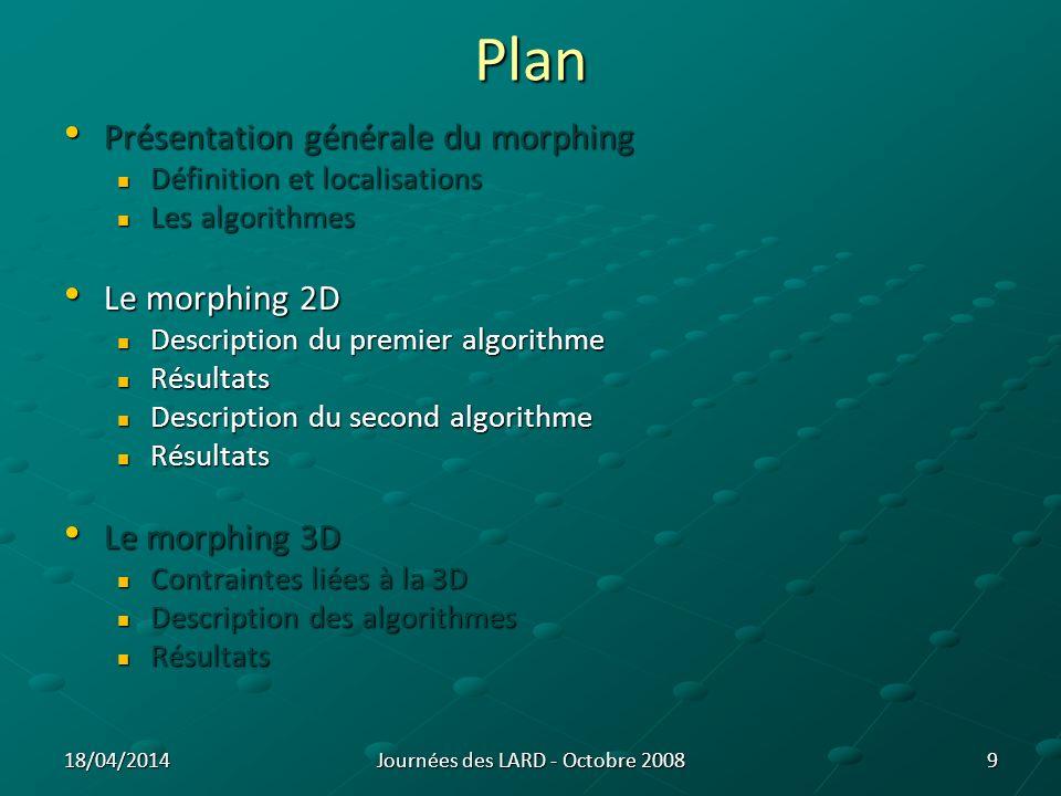 Morphing : Acquisition des données 10 Schéma dun signal RPM phase théorique 0%10%20%30%40%50% phase réelle 14%14%22%30%38%53% Problème dincertitudes Phase 0% = phase 10% Exemple pour lacquisition dune coupe Journées des LARD - Octobre 200818/04/2014