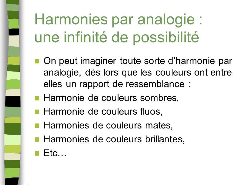 Harmonies par analogie : une infinité de possibilité On peut imaginer toute sorte dharmonie par analogie, dès lors que les couleurs ont entre elles un