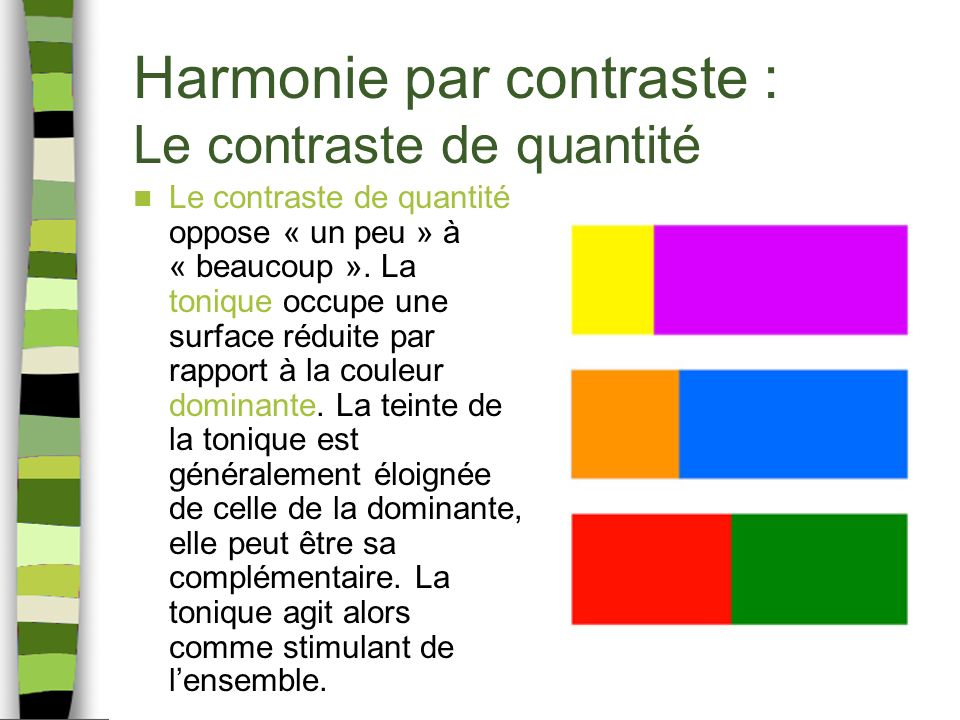 Harmonie par contraste : Le contraste de quantité Le contraste de quantité oppose « un peu » à « beaucoup ».