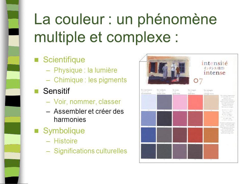 La couleur : un phénomène multiple et complexe : Scientifique –Physique : la lumière –Chimique : les pigments Sensitif –Voir, nommer, classer –Assembler et créer des harmonies Symbolique –Histoire –Significations culturelles
