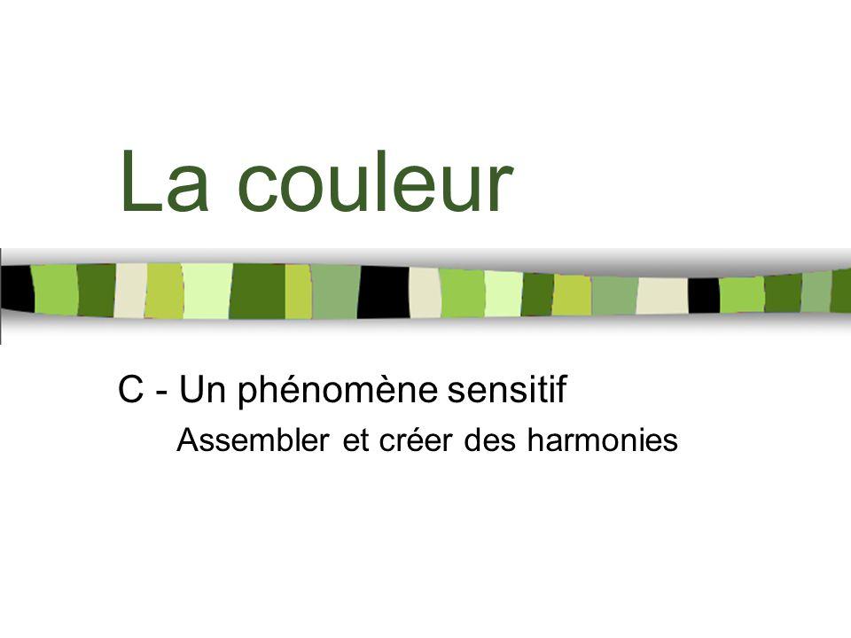 La couleur C - Un phénomène sensitif Assembler et créer des harmonies