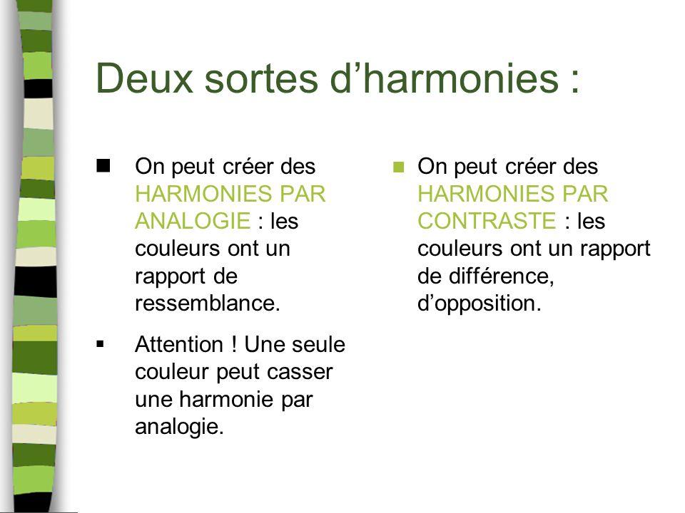 Deux sortes dharmonies : On peut créer des HARMONIES PAR ANALOGIE : les couleurs ont un rapport de ressemblance. Attention ! Une seule couleur peut ca