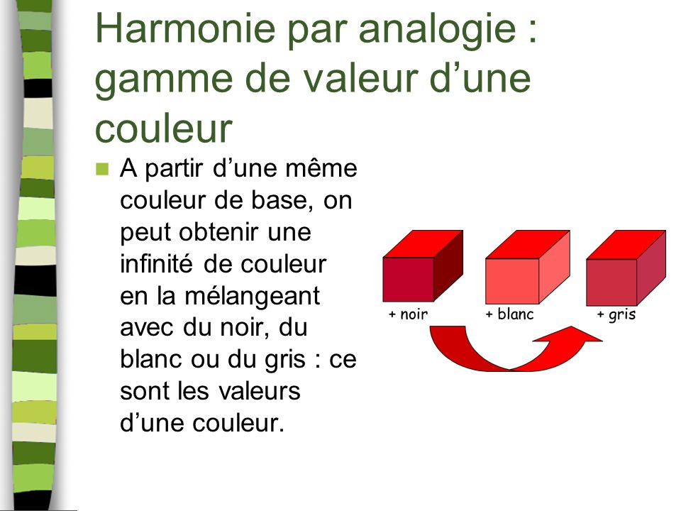 Harmonie par analogie : gamme de valeur dune couleur Toutes ces couleurs issues de la même couleur de départ constituent la plus simple des harmonies colorées : la gamme de valeur dune couleur, également appelé camaïeu