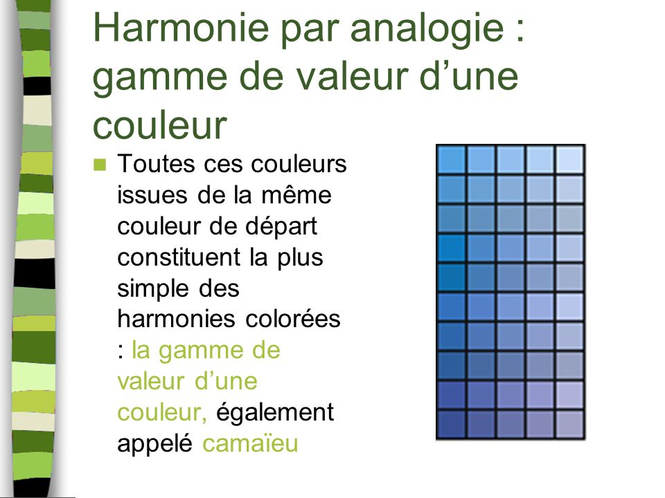Harmonie par analogie : gamme de valeur dune couleur Toutes ces couleurs issues de la même couleur de départ constituent la plus simple des harmonies