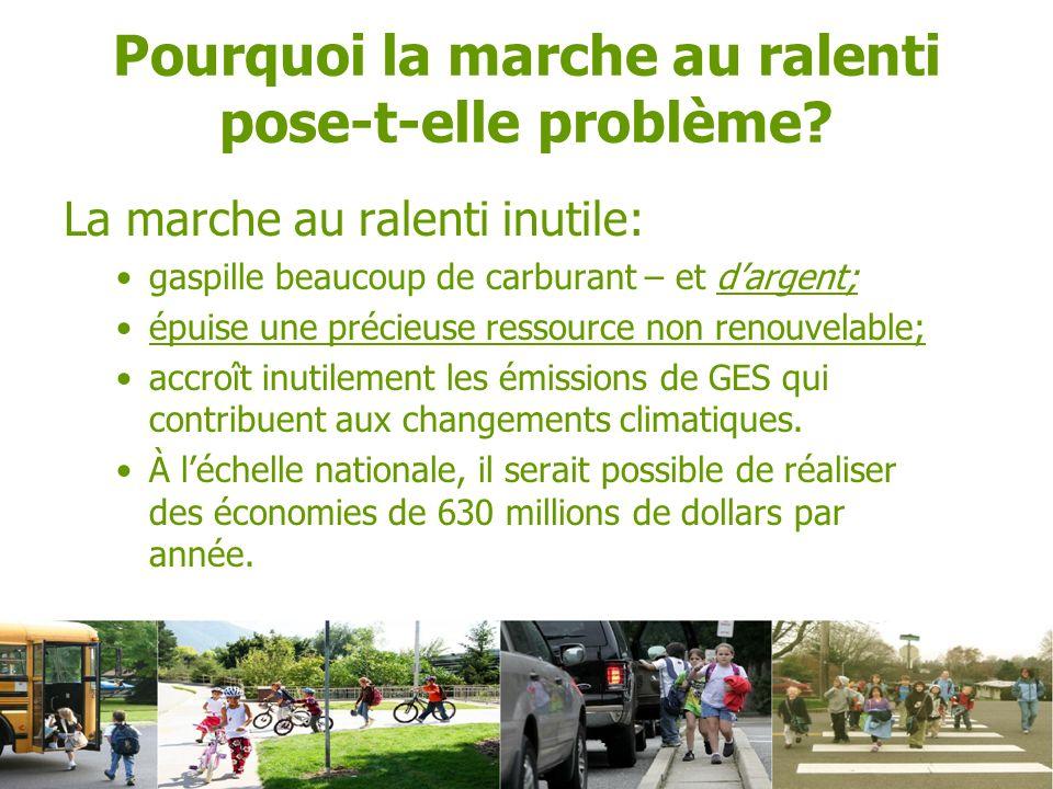 La marche au ralenti inutile: gaspille beaucoup de carburant – et dargent; épuise une précieuse ressource non renouvelable; accroît inutilement les émissions de GES qui contribuent aux changements climatiques.