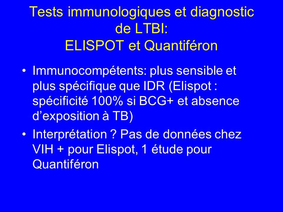 Tests immunologiques et diagnostic de LTBI: ELISPOT et Quantiféron Immunocompétents: plus sensible et plus spécifique que IDR (Elispot : spécificité 1