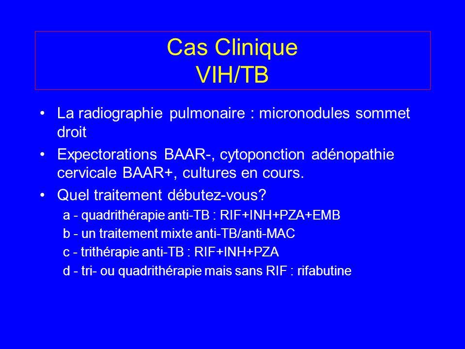 La radiographie pulmonaire : micronodules sommet droit Expectorations BAAR-, cytoponction adénopathie cervicale BAAR+, cultures en cours. Quel traitem