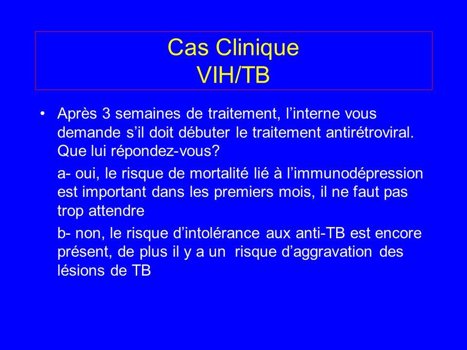Cas Clinique VIH/TB Après 3 semaines de traitement, linterne vous demande sil doit débuter le traitement antirétroviral. Que lui répondez-vous? a- oui