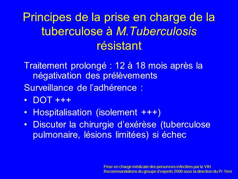 Principes de la prise en charge de la tuberculose à M.Tuberculosis résistant Traitement prolongé : 12 à 18 mois après la négativation des prélèvements