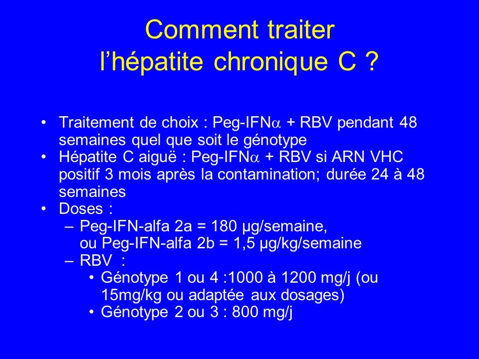 Traitement de choix : Peg-IFN + RBV pendant 48 semaines quel que soit le génotype Hépatite C aiguë : Peg-IFN + RBV si ARN VHC positif 3 mois après la